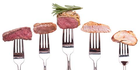 Kollektion gebratenes Fleisch auf einer Gabel