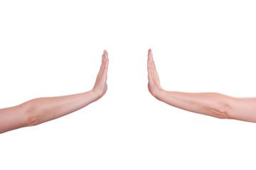 Zwei Hände halten und drücken