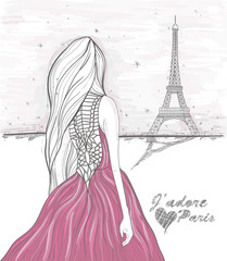 Girl looks at eiffel tower. Hand Drawn paris postcard.