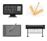 drawings instruments vector icon set