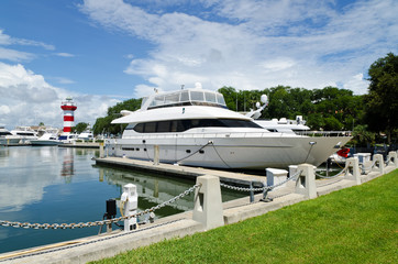 Luxury yacht in harbor. Hilton Head Island, SC