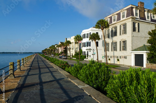 Historic East Battery in morning light. Charleston, SC