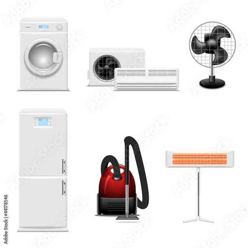 Household appliances vector icon set