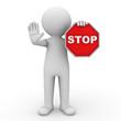 Leinwandbild Motiv 3d man holding stop sign over white background