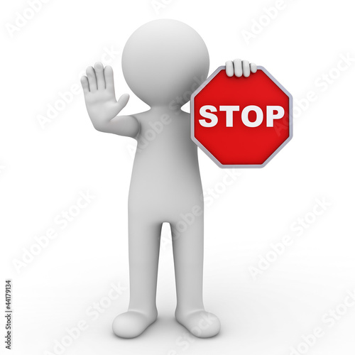 3d man holding stop sign over white background