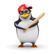 3d Penguin stands ready to bat in Baseball game