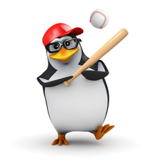 3d Penguin hits the ball in a baseball game