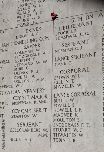 Names on the Menin Gate in Ypres, Belgium