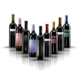 composizione bottiglie di vino doc