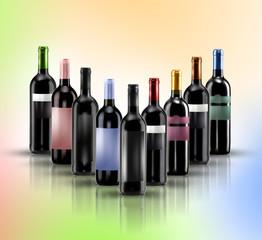 composizione bottiglie di vino doc sfondo