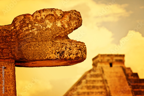 Mayan Head Sculpture in Chichen Itza