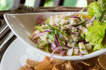 Ceviche served