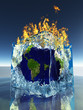 Earth inside ice cube being consumed by fire