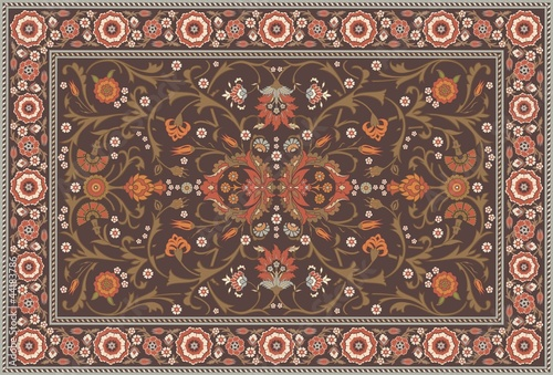 All-over Floral Rug Layout set in a soft earth color scheme