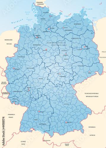 Deutschland mit Landkreisen und Hauptstädten