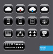Vector button with cloud computer icon set.black color glass sty