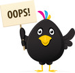 illustrated image of a black bird holding a oops placard