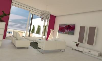 Wohnzimmer in pink/weiß