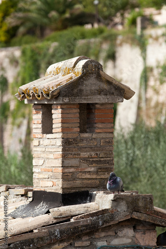 the old roof tile and brick chimney