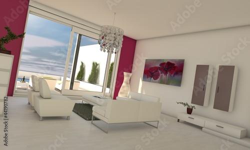 Wohnzimmer in pink/weiß von Magda Fischer, lizenzfreies Foto ...