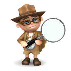 3d Explorer with a huge magnifying glass