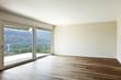 modern interior, wide empty apartment with windows