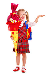 Child with school cone and backpack..Isolated.