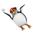 3d Penguin leaps to catch the baseball