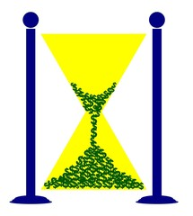hourglass of dollar signs showing that time is money concept