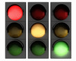 3d traffic lights on white background