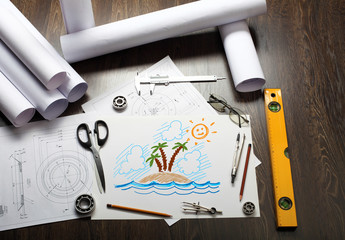 Picture of a tropical island on the table