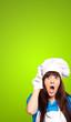 portrait of female chef shocked
