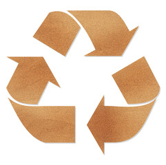Recycle sign on brown paper
