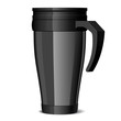 Shiny black Metal travel thermo-cup