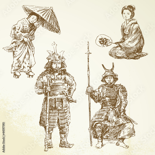 samurai - warrior in Japanese tradition - hand drawn collection