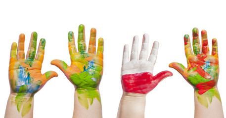 Painted hands of child isolated on white background