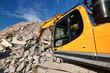 Excavator in demolition waste recycling site
