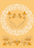 Openwork frame with orange flowers and hearts poster