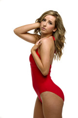 Woman in a red bathing suit