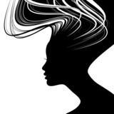 Fototapety Woman face silhouette with wavy hair