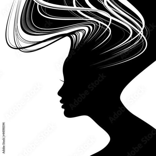 Woman face silhouette with wavy hair - 44198594