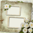 Vintage background with frames and roses