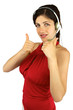 Beautiful call center girl with thumbs up