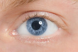 The human eye is blue, close-up