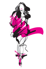 Fashion model. Sketch. Vector illustration