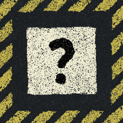 Question sign on asphalt in hazard frame. Vector illustration, E