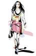 Fashion model. Woman. Sketch. Hand-drawn Vector illustration
