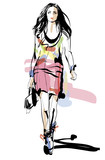 Fashion model. Woman. Sketch. Hand-drawn Vector illustration