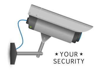 security cctv camera with open lens and wires