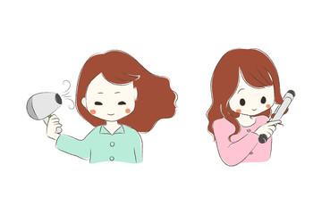 髪をスタイリングする女の子